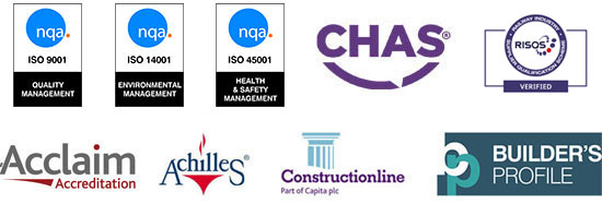 CHAS, RISQS, OHSAS 18001, ISO 14001, ISO 9001, Acclaim Accreditation, Achilles, Constructionline, Builder's Profile