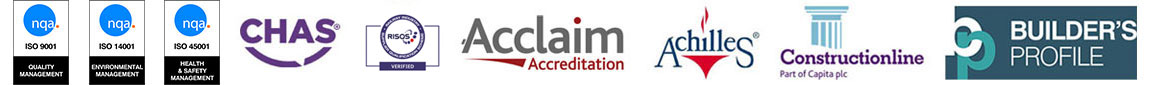 ISO 9001, ISO 14001, ISO 45001, CHAS, RISQS, Acclaim Accreditation, Achilles, Constructionline, Builder's Profile