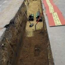 Installation of ducts (2 x trefoil) in trench