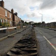 Excavation of track in highway